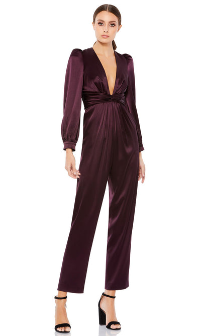 Ieena Duggal - 2647I Deep V-Neck Pleated Waist Formal Evening Jumpsuit In Purple