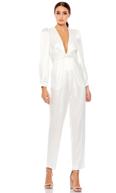 Ieena Duggal - 2647I Deep V-Neck Pleated Waist Formal Evening Jumpsuit In White