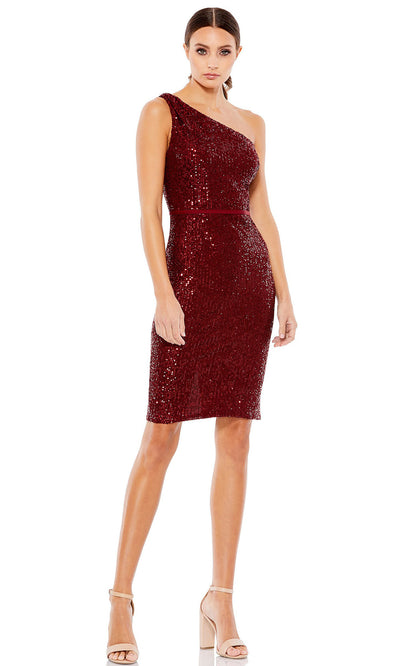 Ieena Duggal - 26497I One Shoulder Neck Fitted Sequin Cocktail Dress In Red
