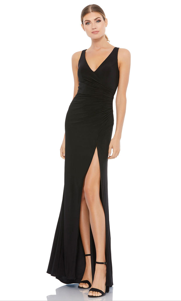 Ieena Duggal - 26513I Faux Surplice High Slit Long Dress In Black