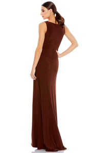 Ieena Duggal - 26513I Faux Surplice High Slit Long Dress In Brown