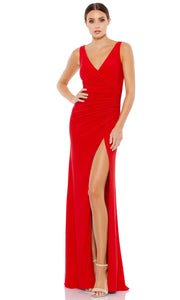 Ieena Duggal - 26513I Faux Surplice High Slit Long Dress In Red