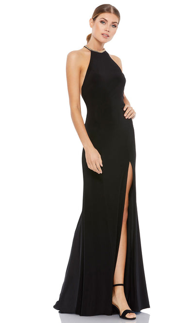 Ieena Duggal - 26518I Embellished Halter Neck Fringed Back Long Gown In Black