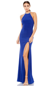 Ieena Duggal - 26518I Embellished Halter Neck Fringed Back Long Gown In Blue