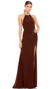 Ieena Duggal - 26518I Embellished Halter Neck Fringed Back Long Gown In Brown