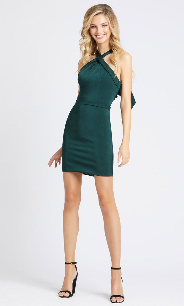 Ieena Duggal - 48938I Bow-Accented Back Halter Dress In Green