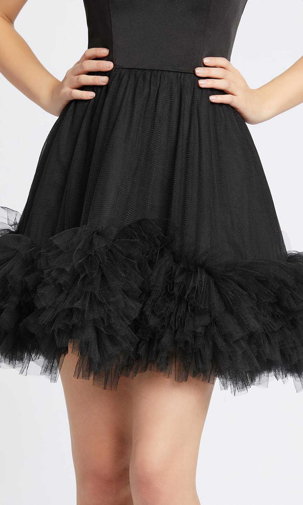 Ieena Duggal - 48941I Short Tulle Fringed A-Line Dress In Black