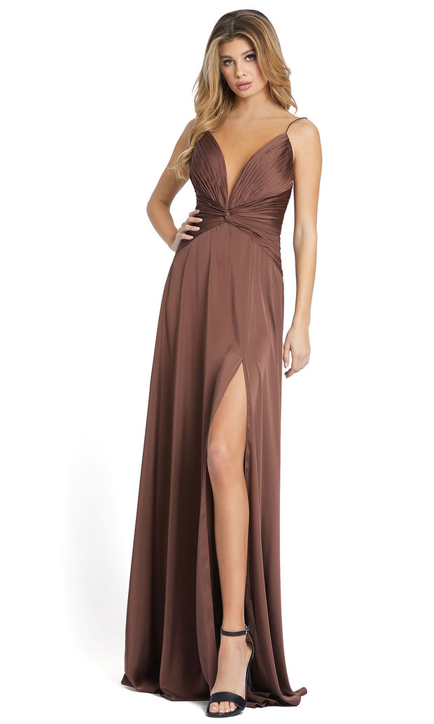 Ieena Duggal - 49085I Open Back Thin Strap A-Line Dress In Brown