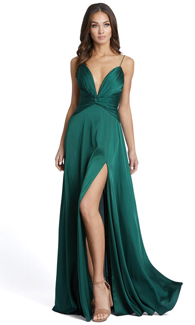 Ieena Duggal - 49085I Open Back Thin Strap A-Line Dress In Green