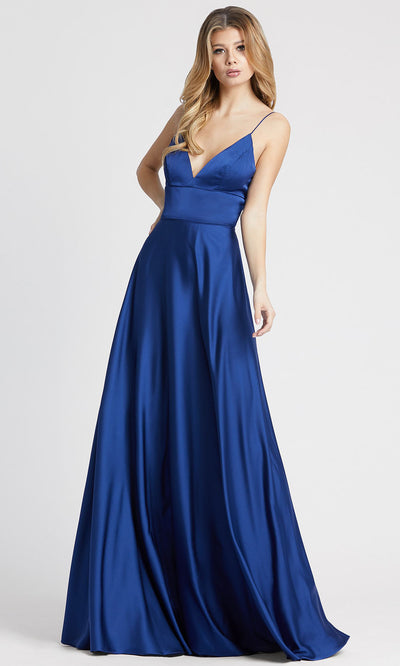 Ieena Duggal - 49086I V Neck Fit And Flare A-Line Gown In Blue