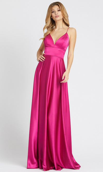 Ieena Duggal - 49086I V Neck Fit And Flare A-Line Gown In Pink