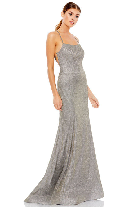 Ieena Duggal - 49274I Lace Up Back Metallic Dress In Silver and Gray