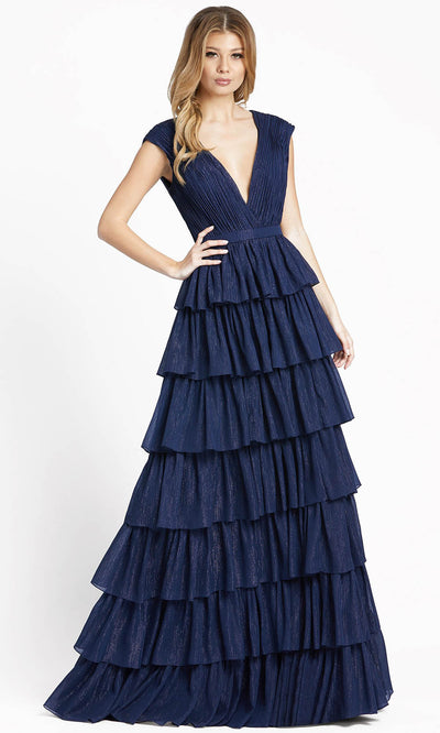 Ieena Duggal - 49287I Glitter Tiered A-Line Evening Gown In Blue