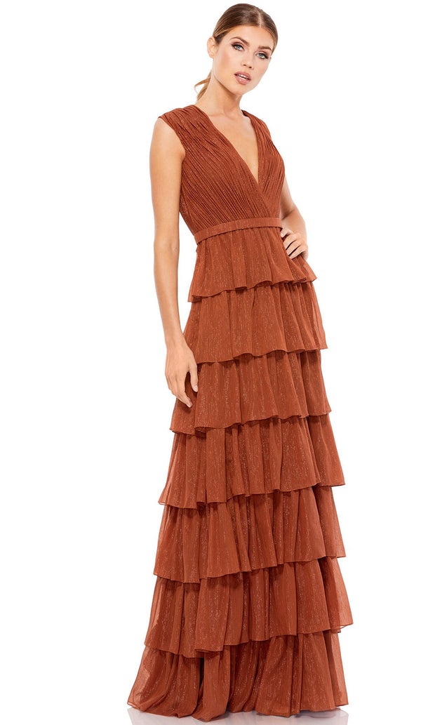 Ieena Duggal - 49287I Glitter Tiered A-Line Evening Gown In Brown