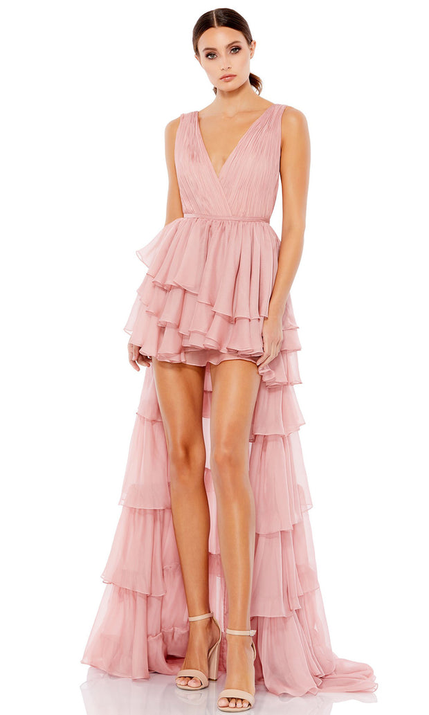 Ieena Duggal - 55320I Ruched High Low Tiered Dress In Pink