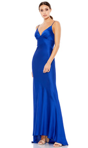 Ieena Duggal - 55333I V Neck Long Dress With Open Back In Blue