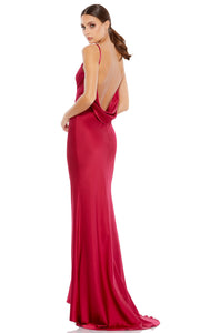 Ieena Duggal - 55333I V Neck Long Dress With Open Back In Red