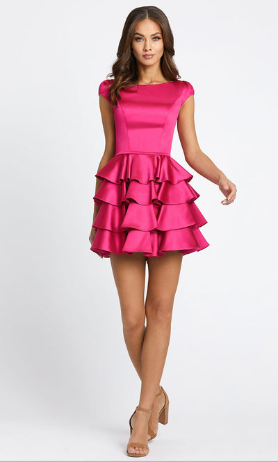 Ieena Duggal - 67509I Cap Sleeve Bateau Neck Ruffled A-Line Dress In Pink