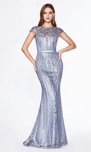 Cinderella Divine J768 long high neck sequin dress