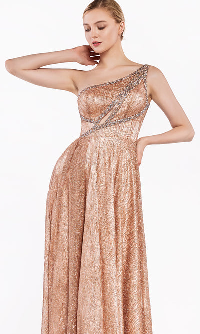 Cinderella Divine J782 long rose gold dress with high slit and one shoulder