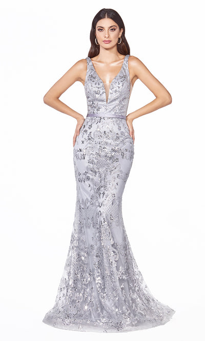 Cinderella Divine J785 long silver mermaid sequin evening dress