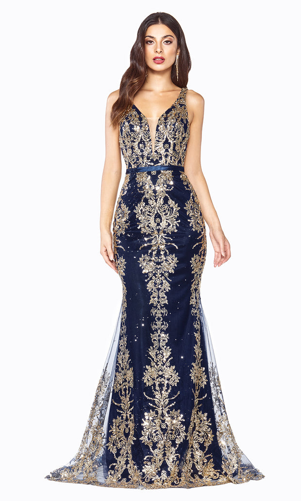 Cinderella Divine J786 long navy dress