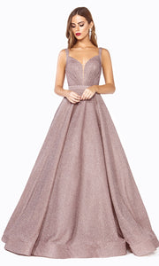 Cinderella Divine J792 Rose Metallic Long Dress