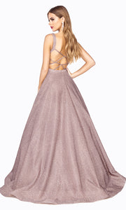 Cinderella Divine J792 Rose Metallic Long Dress-back