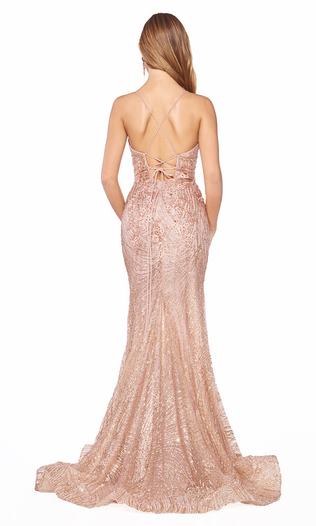 Cinderella Divine J8754 long rose gold fitted mermaid beaded dress - back