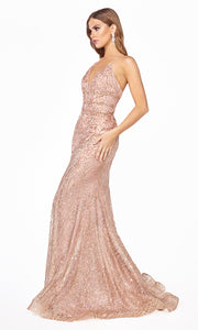 Cinderella Divine J8754 long rose gold fitted mermaid beaded dress.