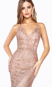 Cinderella Divine J8754 long rose gold fitted mermaid beaded dress - closeup