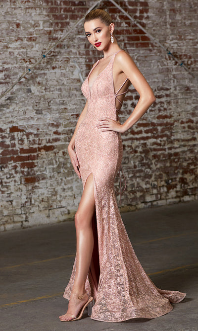 Cinderella Divine J9486 Long Sequin Dress with open back and high slit