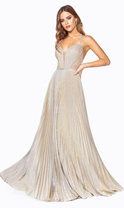 Cinderella Divine J9664 long flowy champagne dress with low back
