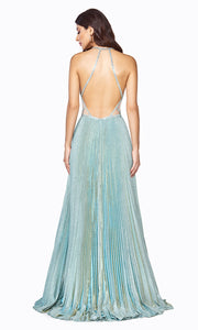 Cinderella Divine J9664 long flowy sea mist green metallic dress with low back