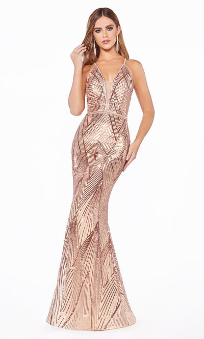 Cinderella Divine J9665 rose gold sequin mermaid dress with open back