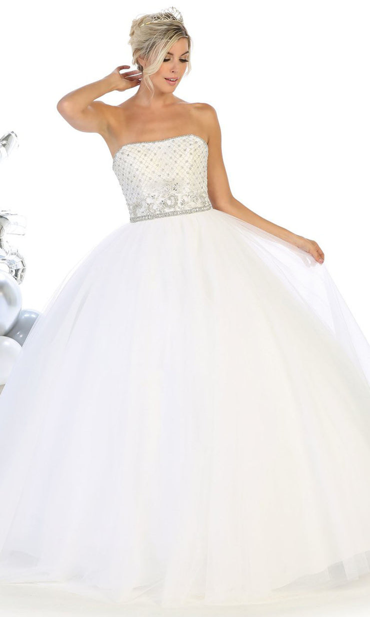 May Queen - LK114 Strapless Adorned Ballgown In White