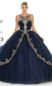 May Queen - LK117 Beaded Scoop Neck Pleated Ball Gown In Blue