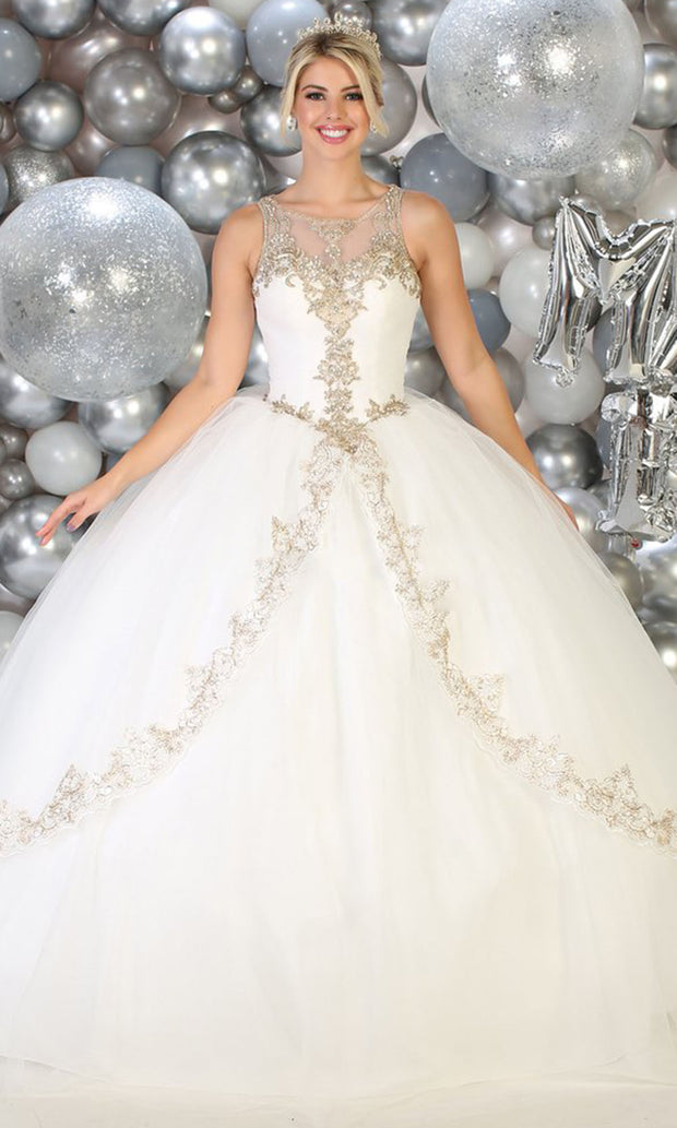 May Queen - LK117 Beaded Scoop Neck Pleated Ball Gown In Ivory