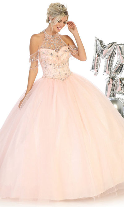 May Queen - LK121 Beaded Halter Cold Shoulder Ballgown In Champagne