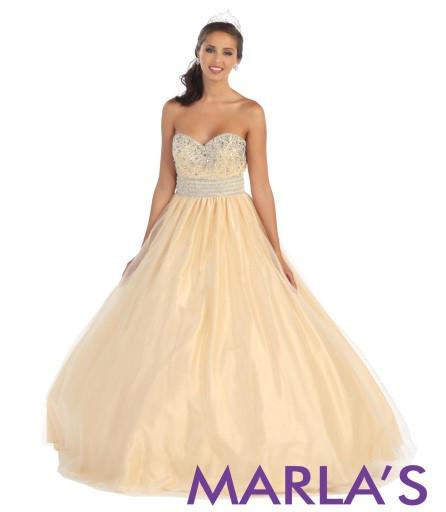 Simple and Classic Royal Blue Ball Gown - Marla's Fashions - 3
