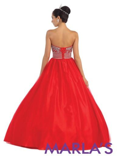 Simple and Classic Red Ball Gown - Marla's Fashions - 4