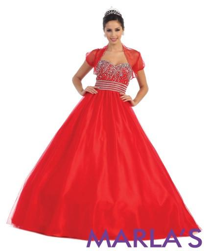 Simple and Classic Royal Blue Ball Gown - Marla's Fashions - 2