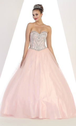 * Long Sweetheart Strapless Blush Ball Gown