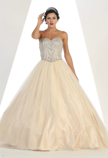 * Long Sweetheart Strapless Ball Gown