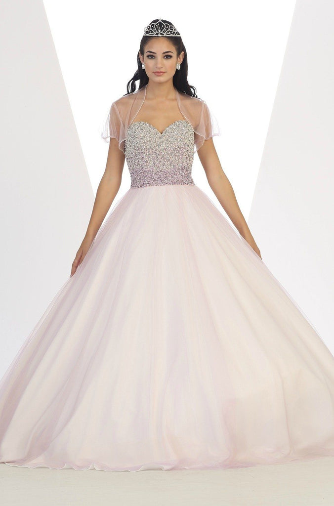 * Beaded Ombre Bodice Lilac Ball Gown