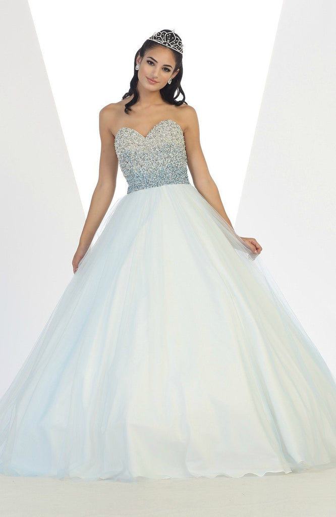 * Beaded Ombre Bodice Aqua Ball Gown