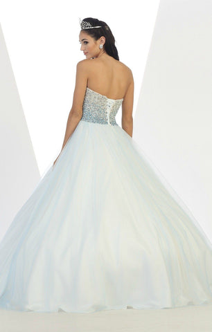 * Beaded Ombre Bodice Blush Ball Gown