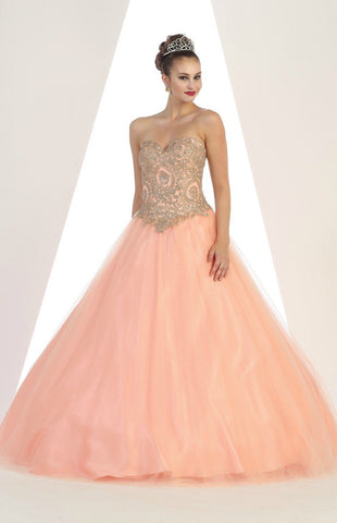 * Strapless Floor Length Blush Ball Gown with Gold Embellishments