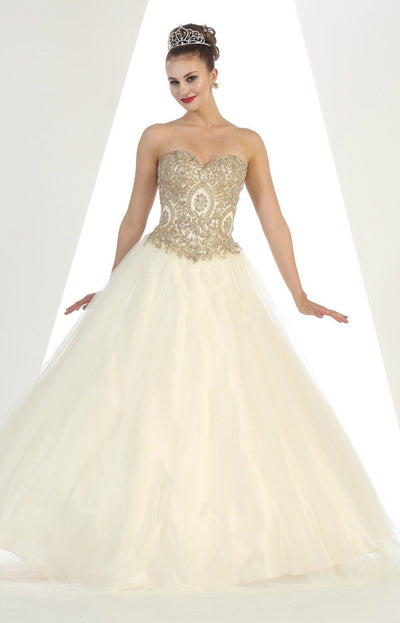 Long Strapless Floor Length Ball Gown with Gold Embellishments