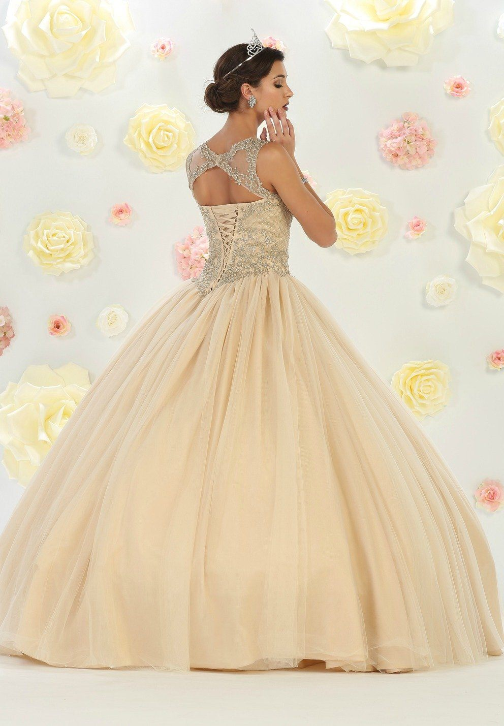 * Long High Neck Illusion Champagne (Light Gold) Ball Gown